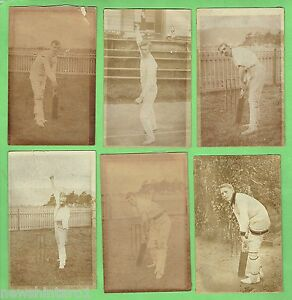 D163-SIX-OLD-UNIDENTIFIED-CRICKET-POSTCARDS-DAMAGED