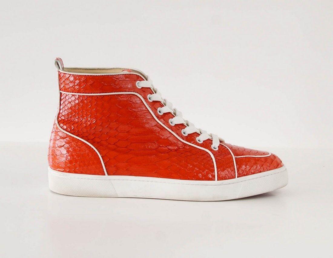 Christian Louboutin Men's scarpe da ginnastica rosso Rantus Orlato Snakeskin Crystal 43 10