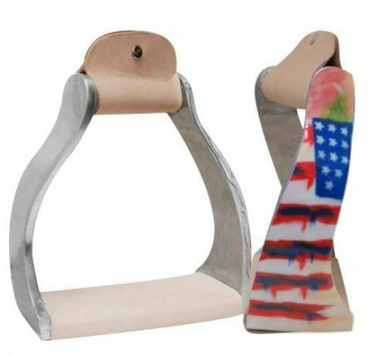 Showman DISTRESSED AMERICAN FLAG Twisted Angled Aluminum 4.75  Wide STIRRUP