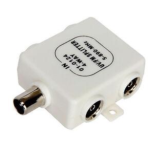 RF-Splitter-TV-4-Way-UV-FM-VHF-Aerial-1-Input-to-4-Output-TVs