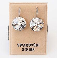 Neu OHRHÄNGER 14mm SWAROVSKI STEINE silver patina/kristallklar/silber OHRRINGE