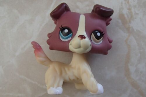 Littlest Pet Shop RARE Collie Dog Puppy #1262 Mauve Plum Cream LPS