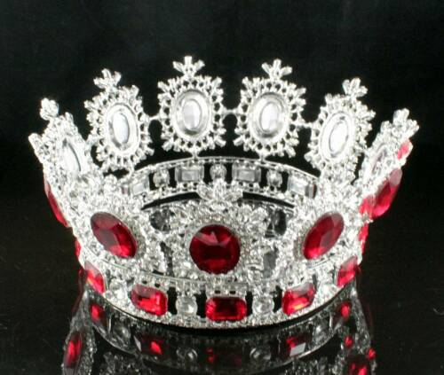 4 INCHES HIGH BEAUTY QUEEN RED CRYSTAL RHINESTONE LG TIARA CROWN PAGEANT T2131R