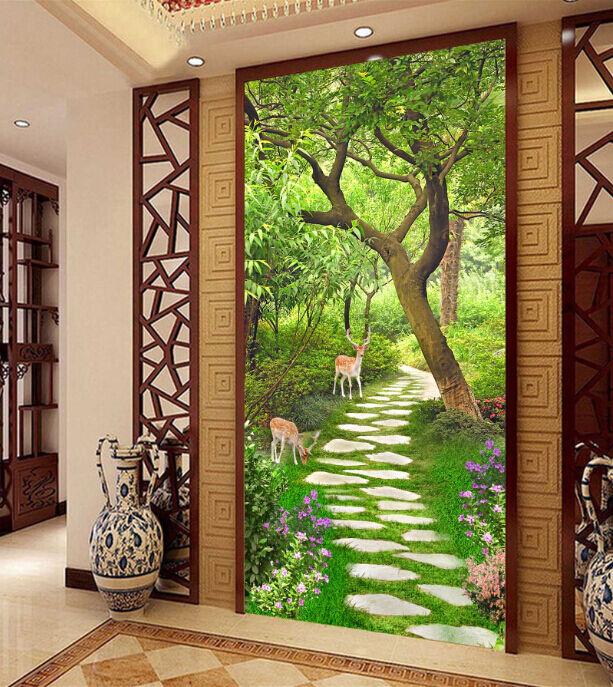 3D Lush Forest Path 1 Paper Wall Print Decal Wall Wall Murals AJ WALLPAPER GB