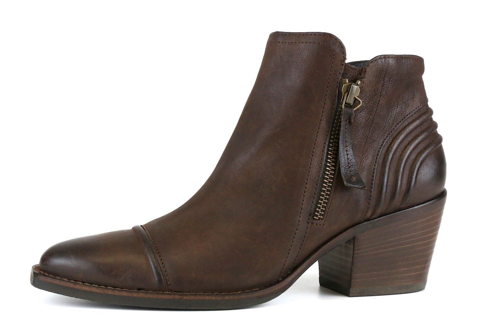Paul verde Diandra Leather Ankle Bootie Brown Donna Sz 4 *