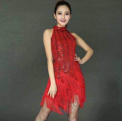Tassel Sequin Ballroom Latin Salsa Dance Dresses Costume Womens Dancing M L XL