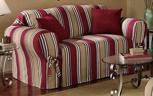 Details about All Cotton Red Stripes Sofa/Loveseat/Chair Slipcover Cover +  2 matching Pillows