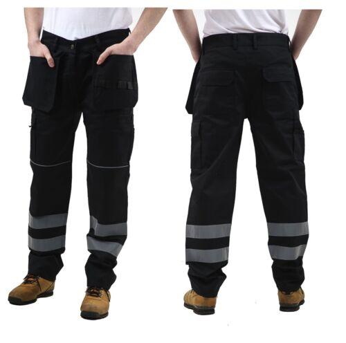Homme Cargo Hi-Vis Étui poches Work Wear Pantalon