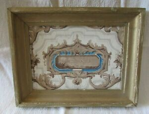 Antique-French-Beautiful-Chalky-Morsel-19thC-Framed-Wallpaper-Shabby-n-Chic
