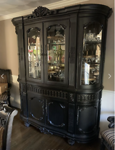Gorgeous Traditional Black Dining Room, Dining Room Hutch
