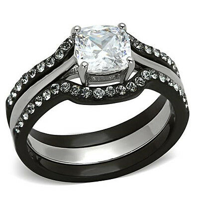 Black Silver Cushion Cut 2.19 carats CZ Stainless Steel Engagement 3 Ring Set