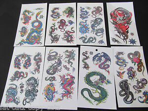 5-or-10-SHEETS-BOYS-CHINESE-MYSTICAL-DRAGON-SNAKES-50-TEMPORARY-TATTOOS-PARTY