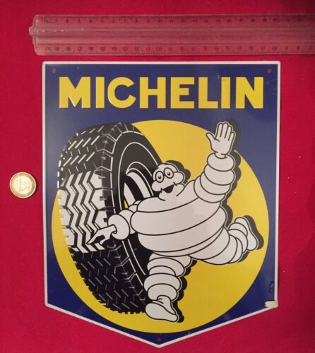 1.99 Euro port Plaque Michelin BIBENDUM Métal neuve 21 x 25 cms environ !