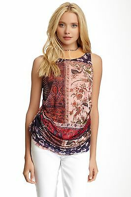 Liberty Garden Country Chic Floral Halter Top w Leather XS S NWT $70 4SCA2003 RF