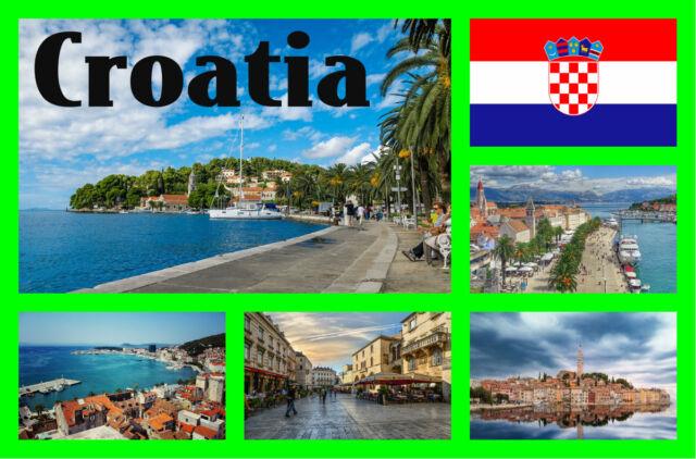Croacia - Recuerdo Original Imán de Nevera - Monumentos/Banderas - Nuevo -