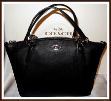 db5c016f6fca ... Coach Small Kelsey Hand Bag Satchel Pebbled Leather BLACK NWT NEW 36675  ...