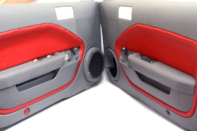 Ford Mustang Armrest Door Panel Insert Cards Synthetic Leather Red