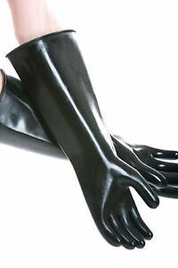 Schwarze-45cm-GUMMIHANDSCHUHE-Latex-Rubber-Industrial-Gloves-Gay-Fist-Fun-glatt