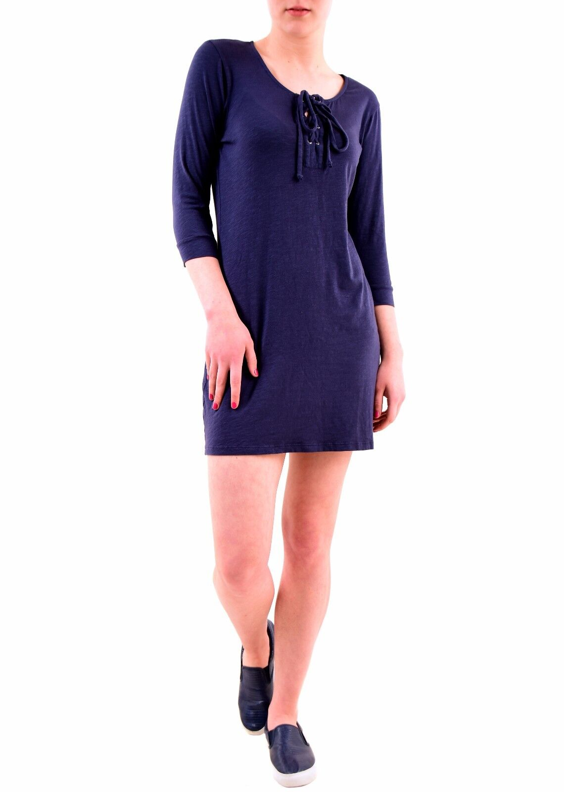 Sundry Women's Authentic 3 4 Sleeve Lace Up Dress Navy Size US1 RRP  BCF75
