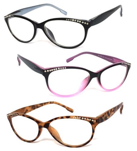 Womens Retro Cat Eye Rhinestones Reading Glasses Clear Lens Spring Hinges