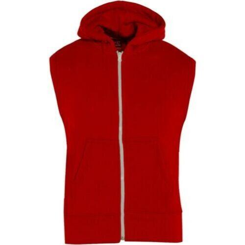 Kids Girls Boys Plain Gilet Red Fleece Hoodie Zipper Sleeveless Jacket 7-13 Year