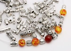Mixed-45g-about-100pcs-Tibetan-Silver-Long-Tube-Spacer-Beads-Jewelry-Findings