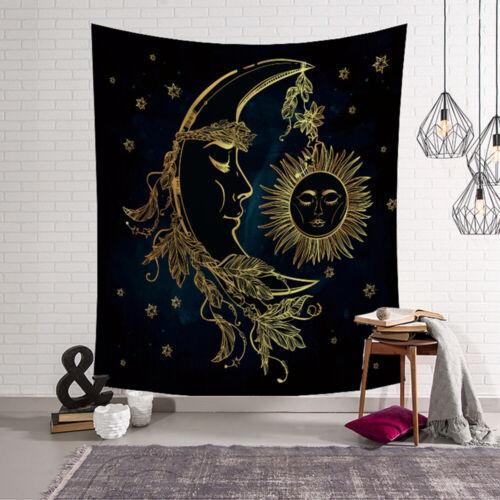 """MANDALA Noir Lune et Soleil Yoga Couverture Tenture indienne décor 38x29/"""" YG"""