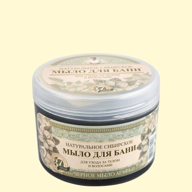Schwarze Seife für Körper und Haare Agafja 500 ml für Sauna und Bad Haarseife