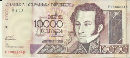 UNC CONDITION 6RW 03NOV VENEZUELA 10000 BOLIVARES 2006  P 85