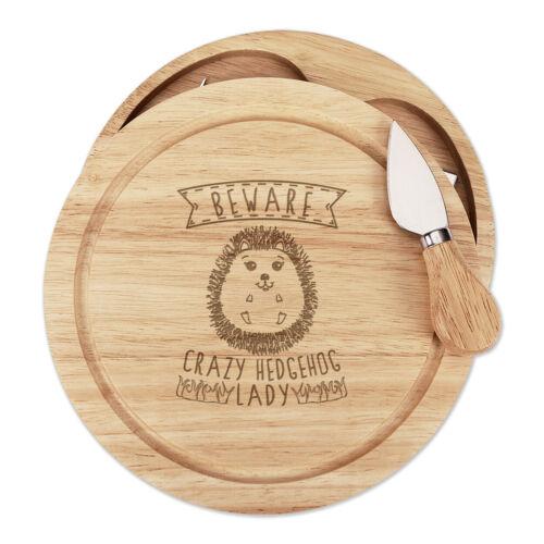Méfiez-vous fou Hérisson Lady Cheese Board Kit couteau Drôle Animal
