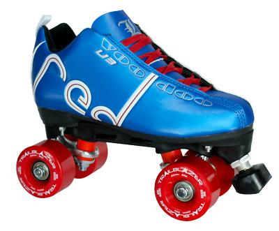 Labeda Voodoo U3 Outdoor Quad Roller Speed Skates Customized Red Skate w//Black Trailblazer Wheels!