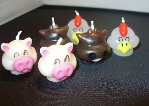 Image Is Loading 60 Cow Pig Chicken Farm Animal Birthday Candles