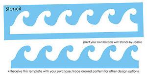 ocean waves 4 tall stencil tropical beach nautical pool wall art