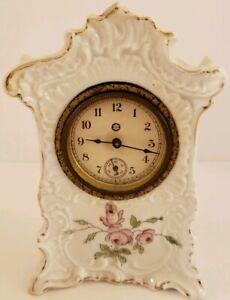 Antique 19th C. NEW HAVEN White Mini Porcelain Ceramic Wind-Up Mantel Clock