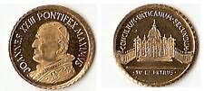 PICCOLA Mini Moneta MEDAGLIA SANTO PAPA GIOVANNI XXIII  1 cm. PLACCATA ORO