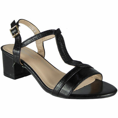 Womens Mid Heel Shoes Ladies T-Bar Ankle Strap Buckle Work Party Sandals Size