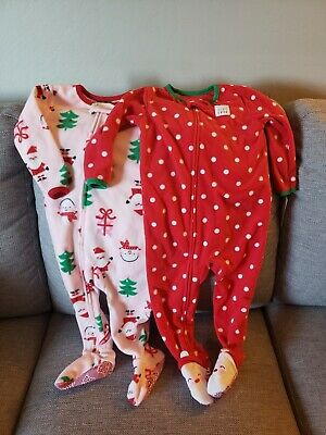 Carters NWT 6 Month Pink Scarf Reindeer Christmas Footed Fleece Pajama Girl