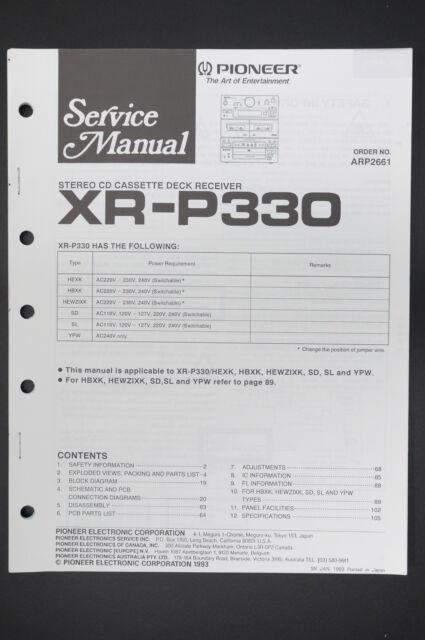 PIONEER XR-P330 Original Service-Manual/Anleitung/Schaltplan! o13 | eBay