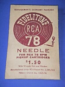 Vintage Fidelitone 78 Phonograph Needle / RCA 211X1 & 212X1 NOS by Permo Inc.