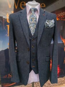 Details About Mens Designer Blue Donegal Style Slim Fit 3 Piece Tweed Suit Wedding Perfect