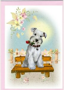 Miniature-Schnauzer-Dog-4-034-x-6-034-Blank-Card-ideal-Mothers-Day-Valentines-etc