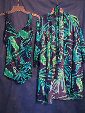 ROXANNE Vtg Pin-Up BULLET BRA SWIM SUIT w/COVER UP ROBE Perfection Fit 14 C CUP