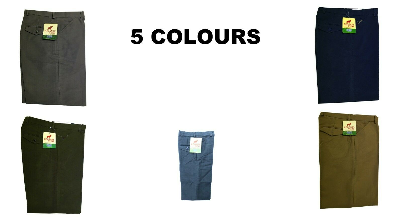 5colours Regents View childrens Superior Stitching 100% Cotton Moleskin Trousers
