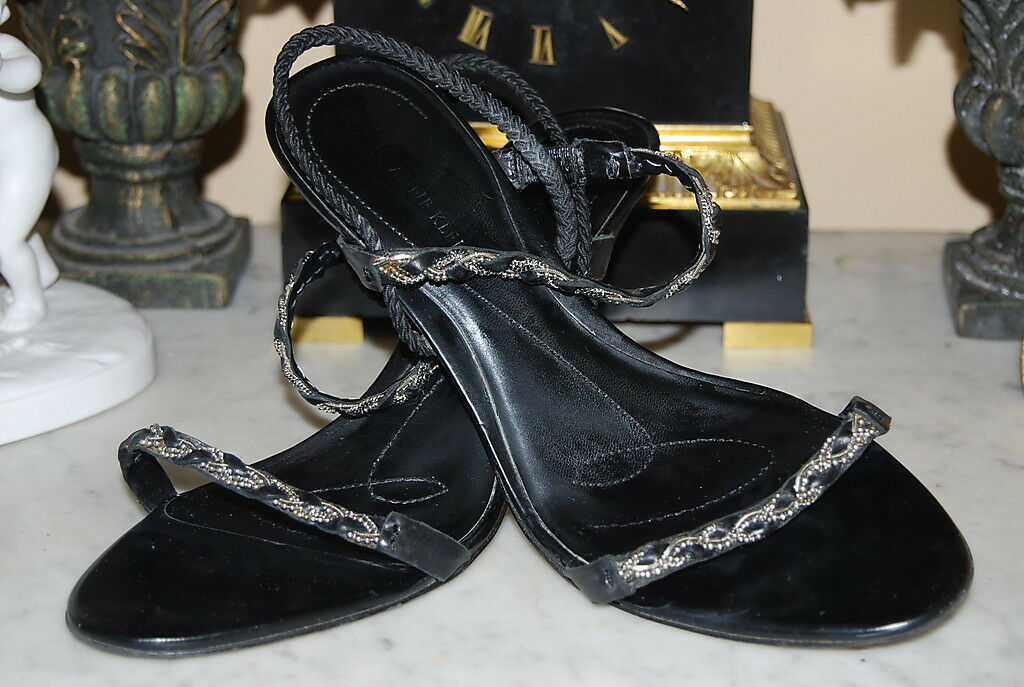 ANNE KLEIN BLACK LEATHER SLING BACK HIGH HEEL WOMEN'S SANDAL SHOES SIZE 8 M