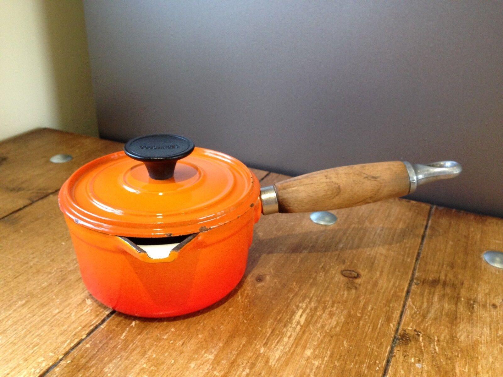 COUSANCES FRANCE VOLCANIC Orange ENAMEL CAST IRON 14 CM LIDDED SAUCEPAN POT PAN