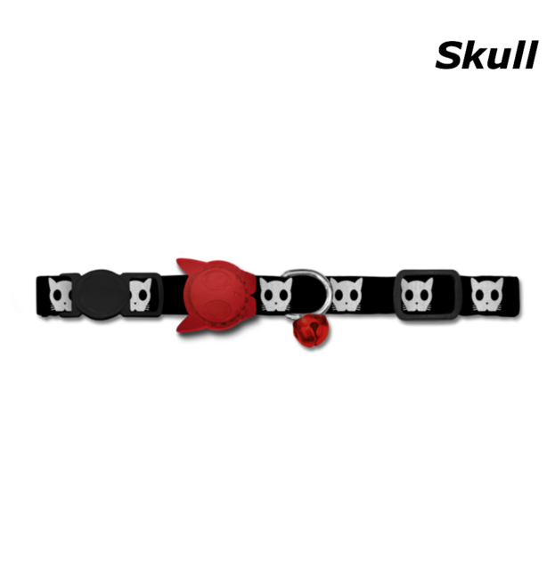 "Zee Dog '""Skull"" Cat Collar with Red Rubber Logo"