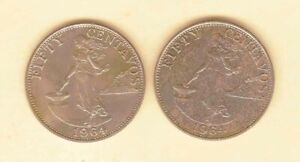 Philippines-50-centavos-1964-Lady-with-Hammer-2-coins-Uncirculated-Toned