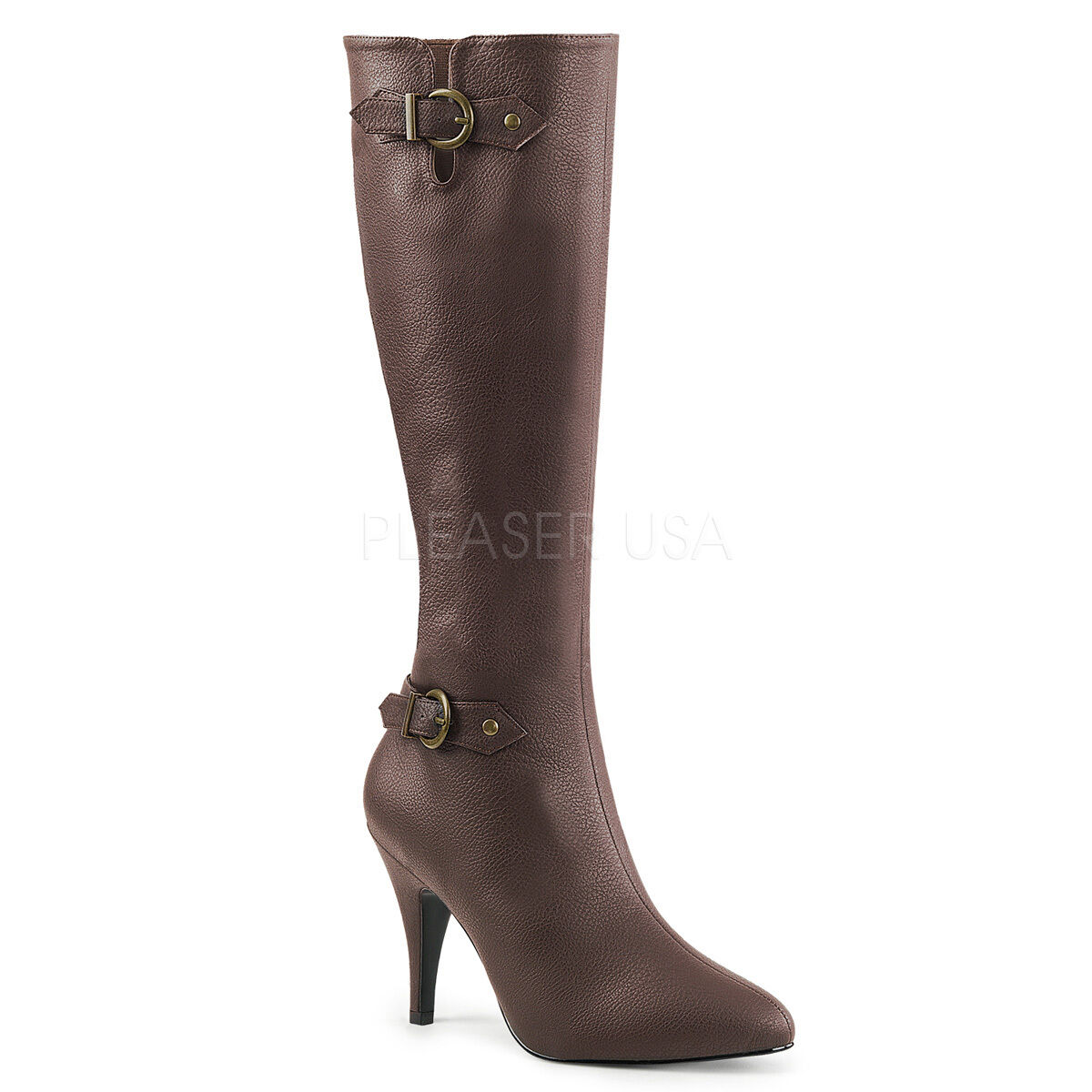 SALE PLEASER Sexy 4 4 4  Heel Brown Knee High Boots w  Buckle Large Sizes 14 b06d12