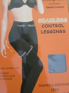 Seamless-High-Waisted-control-slimming-Leggings-size-8-to-26-Black-013