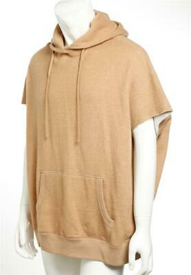 R13 Mens Camel Brown Fuzzy Sleeveless Hoodie Sweatshirt